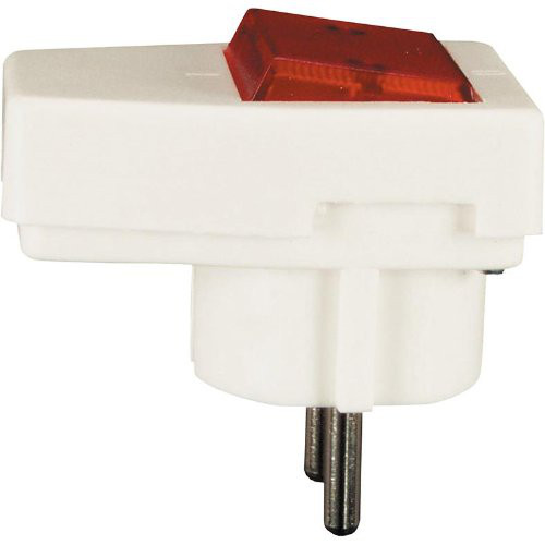 Schuko-Stecker mit Kontroll-Lampe, weiss
