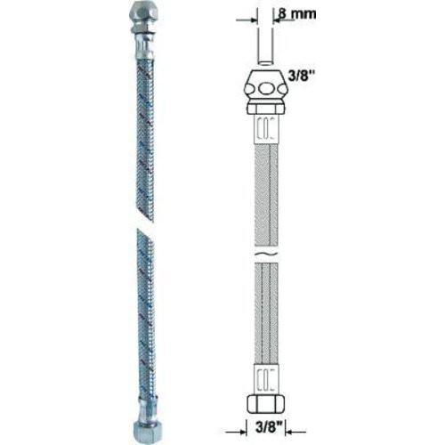 Anschlussrohr-flex.500 mmchrom Verschraub. 8 mm