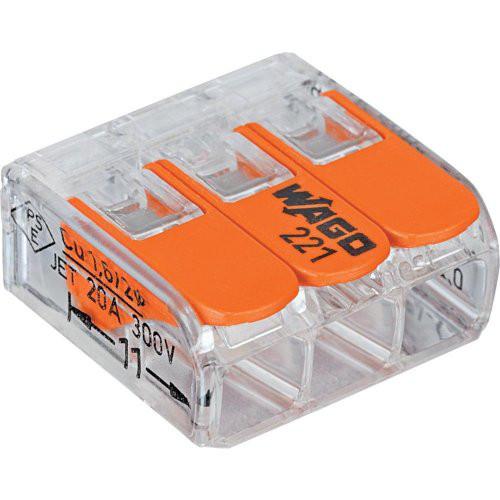 Wago-COMPACT-Klemme 3x0,2-4qmm transparent 5 Stueck Btl. m. R.