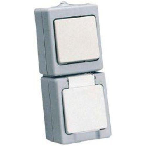 Kombination AP / FR Universalschalter mit Schutzkontakt-Steckdose grau/weiss