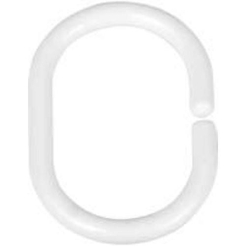 Duschvorhang-Ringe weiß, 12-er Set
